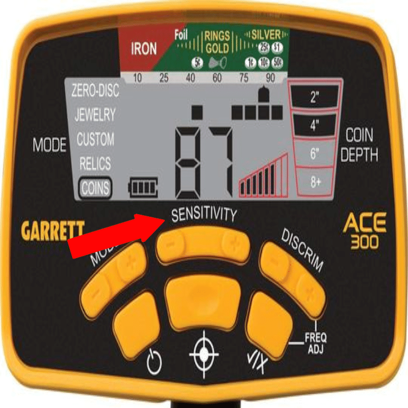 Sensitivity setting on garrett ace 300 metal detector