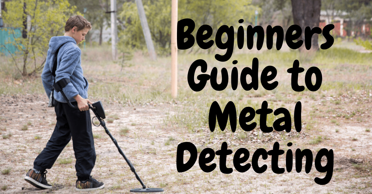 Boy metal detecting and the words beginner's guide to metal detecting.