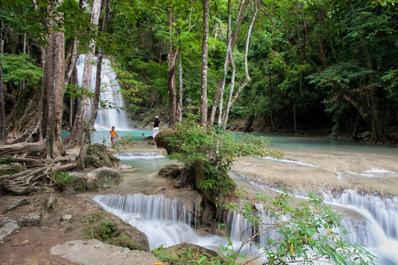 Waterfall and stream in the forest of Erawan National Park, Kanchanaburi Province, Thailand.