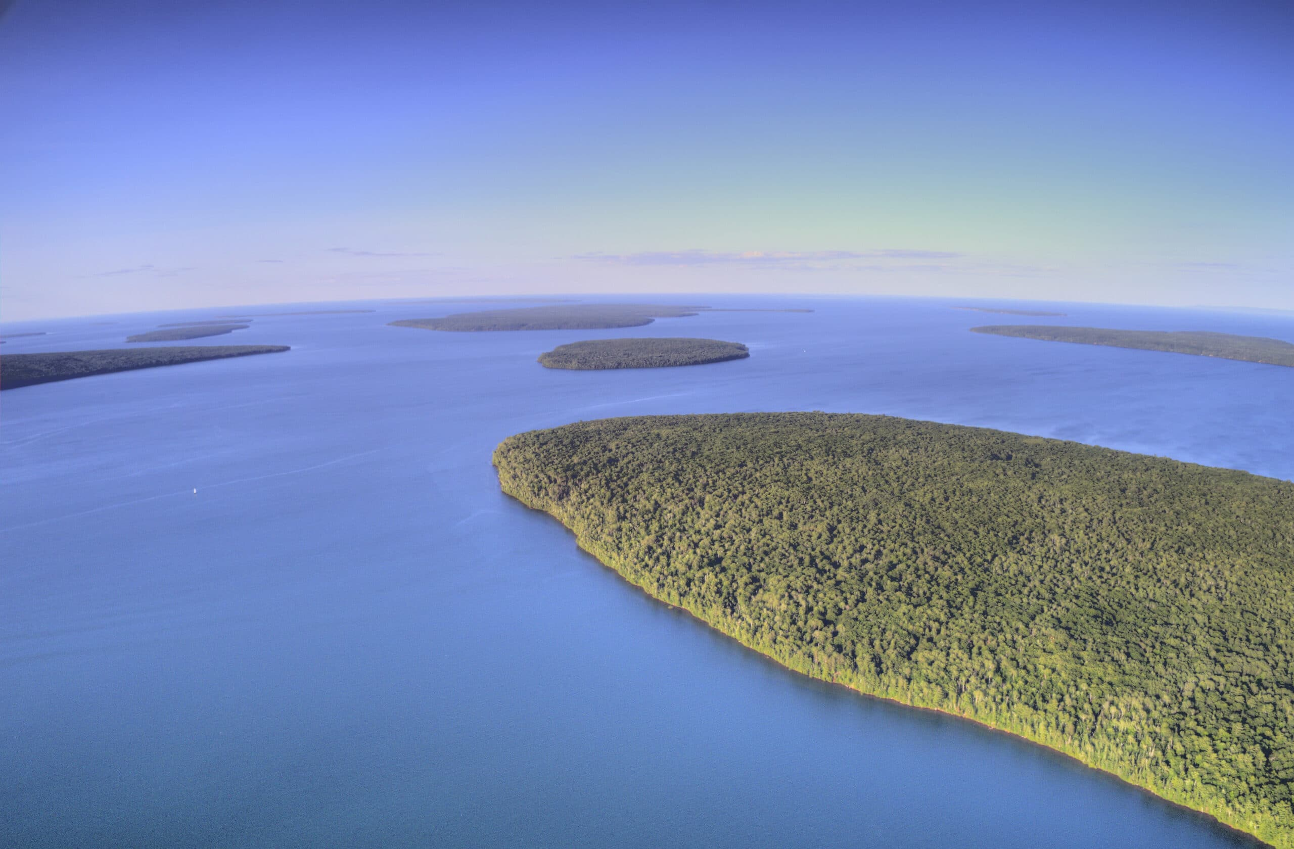 Aerial View of the Apostle Islands National Lakeshore in Lake Superior