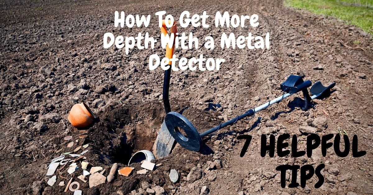 How to get more depth with a metal detector. A shovel and metal detector with relics found in a field.