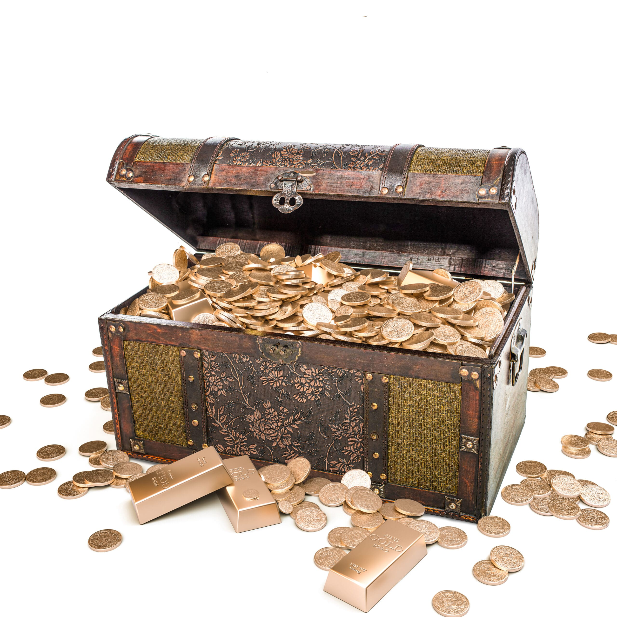 Chest full of gold coins.