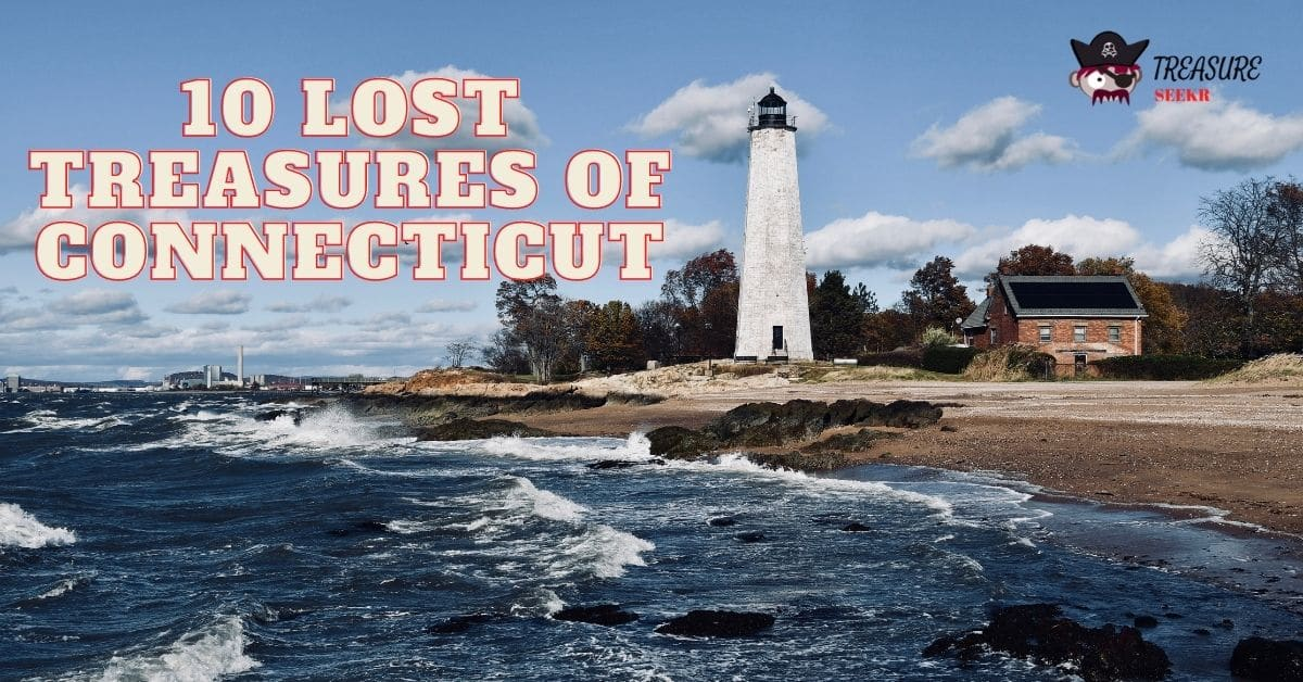 Picture of a lighthouse and the words10 lost treasures of Connecticut