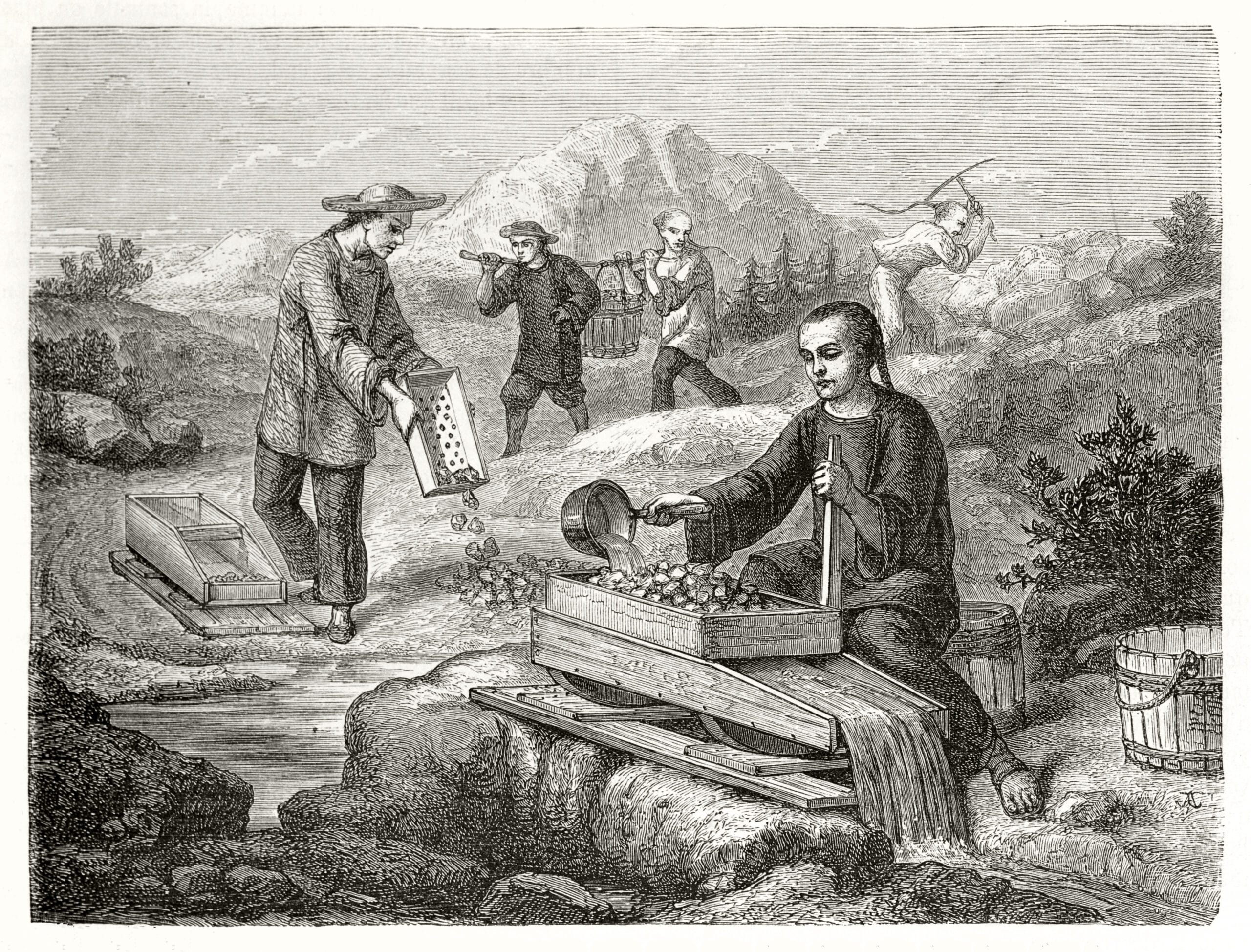 Old illustration of Chinese miners in California washing gold-bearing sand. Created by Chassevent after previous engraving by unknown author, published on Le Tour du Monde, Paris, 1862