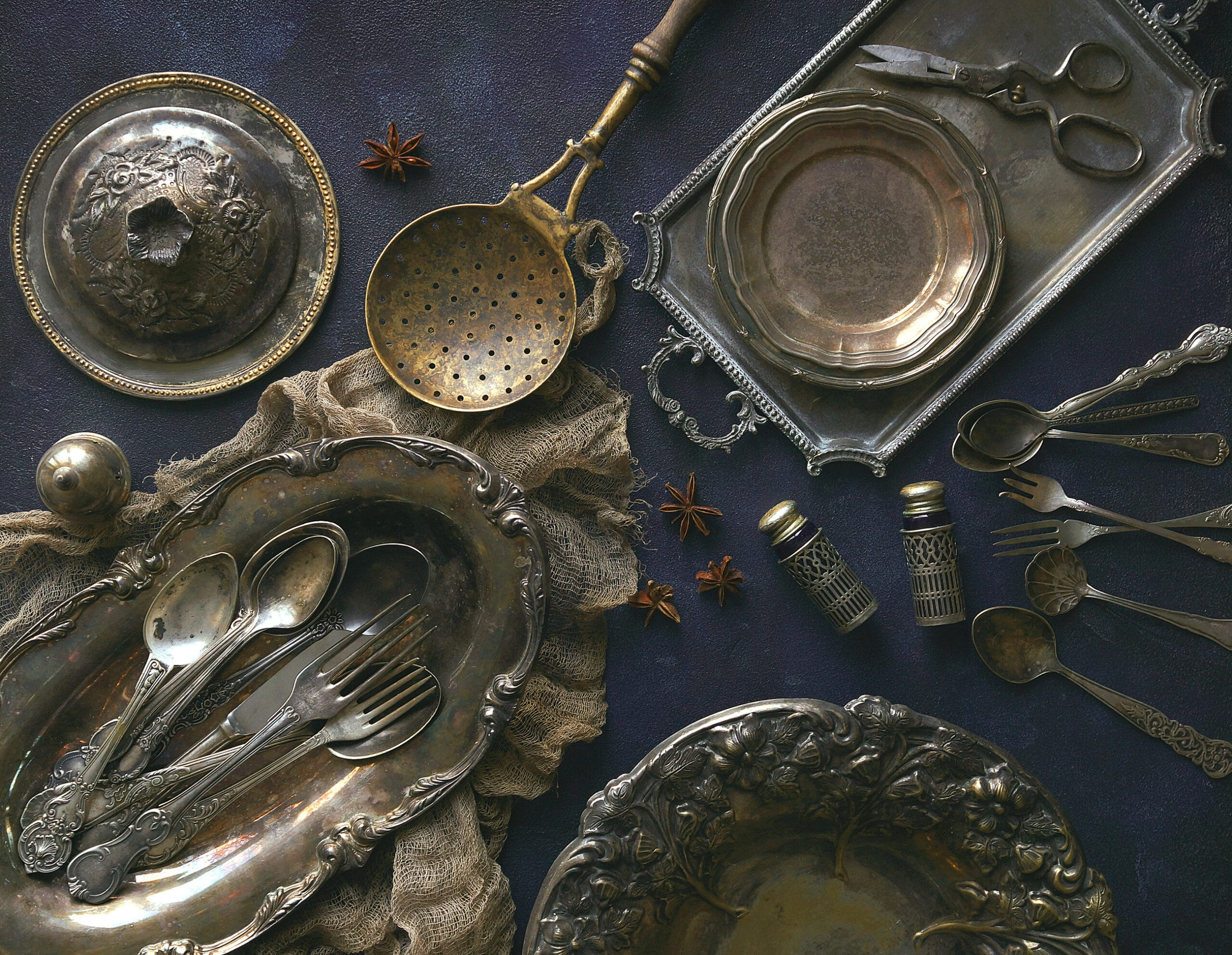 Old kitchen appliances, Vintage cutlery on dark blue background, Top view, Selected focus, Square