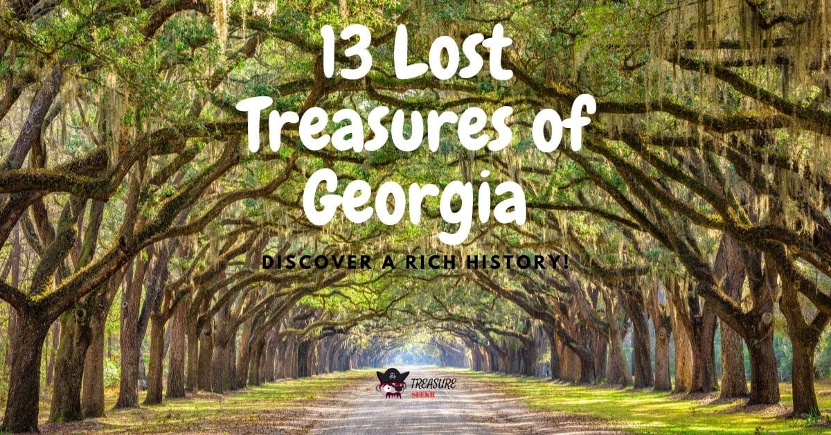 Trees overhanging on a road and the words 13 lost treasures of Georgia.