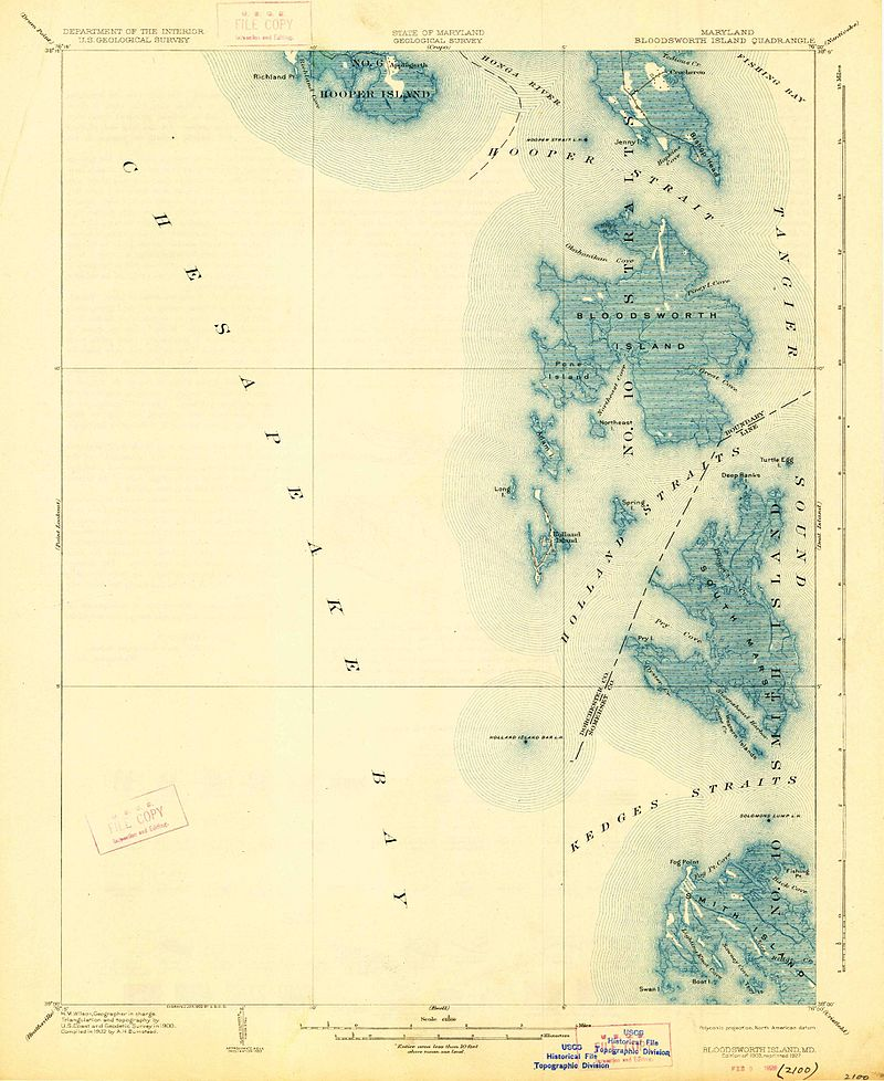 1903 topographic map of Chesapeake Bay Islands including Bloodsworth Island.