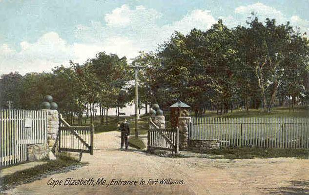 Postcard of entrance to Fort Williams in Cape Elizabeth, Maine