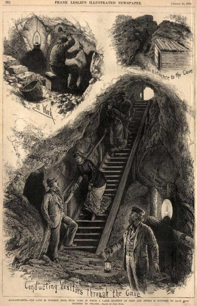 Hiram Marble's excavation of Veale's treasure at Dungeon Rock (Lynn, MA), from Frank Leslie's Illustrated Newspaper, August 1878)