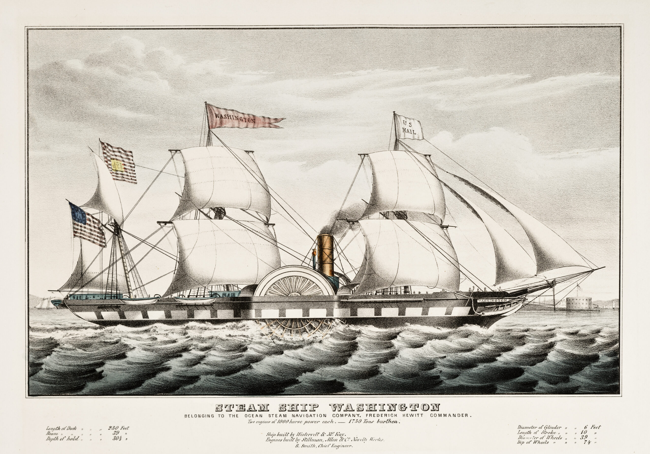 Old illustration of the steamship Washington. By Currier, publ. in New York, 1847