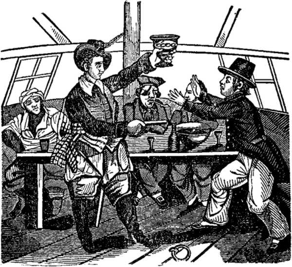 Low presenting a Pistol and Bowl of Punch, from A Pirate's Own Book (1837)