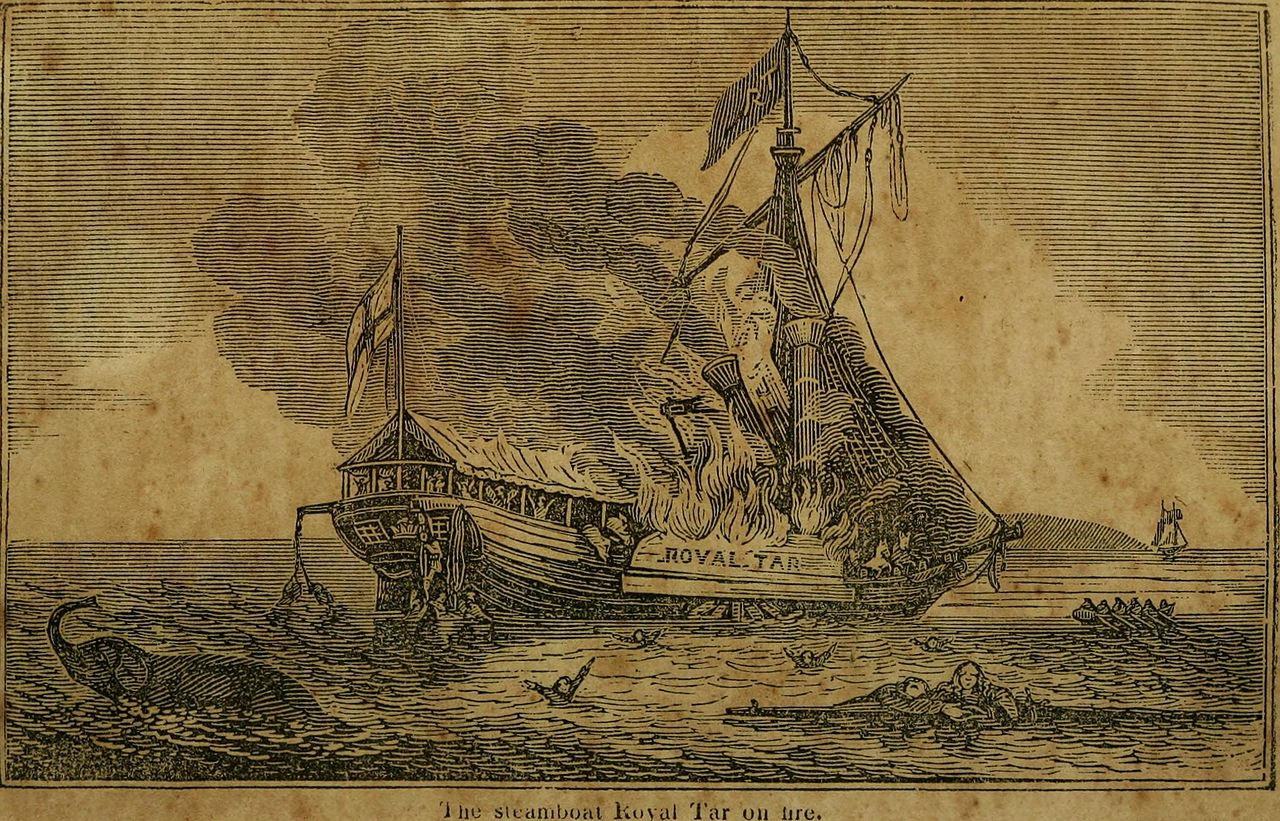 Steamboat The Royal Tar on Fire