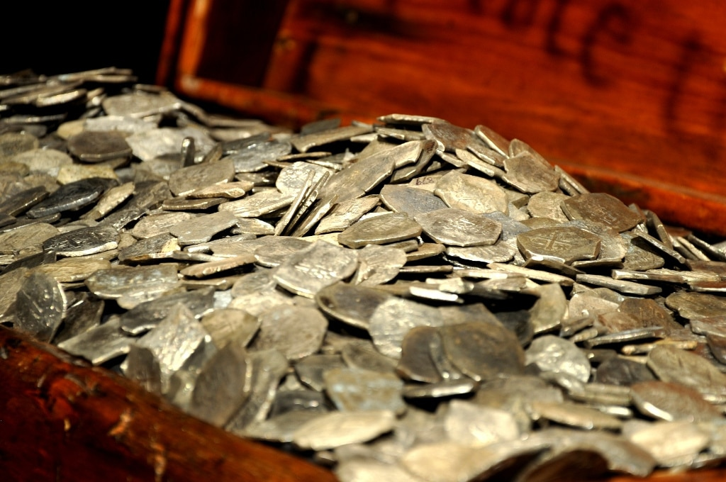 Actual silver recovered from the wreck of the Whydah.